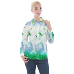 Scrapbooking Tropical Pattern Women s Long Sleeve Pocket Shirt