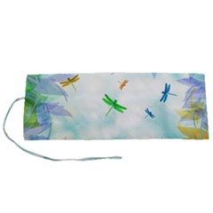 Scrapbooking Tropical Pattern Roll Up Canvas Pencil Holder (S)