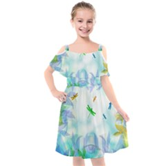 Scrapbooking Tropical Pattern Kids  Cut Out Shoulders Chiffon Dress
