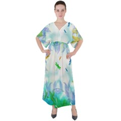 Scrapbooking Tropical Pattern V-Neck Boho Style Maxi Dress
