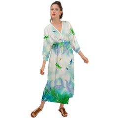 Scrapbooking Tropical Pattern Grecian Style  Maxi Dress