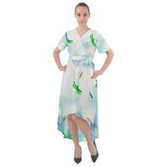 Scrapbooking Tropical Pattern Front Wrap High Low Dress