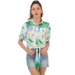 Scrapbooking Tropical Pattern Tie Front Shirt