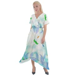 Scrapbooking Tropical Pattern Cross Front Sharkbite Hem Maxi Dress by HermanTelo