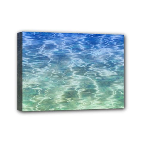 Water Blue Transparent Crystal Mini Canvas 7  X 5  (stretched)