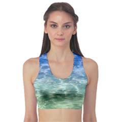 Water Blue Transparent Crystal Sports Bra by HermanTelo