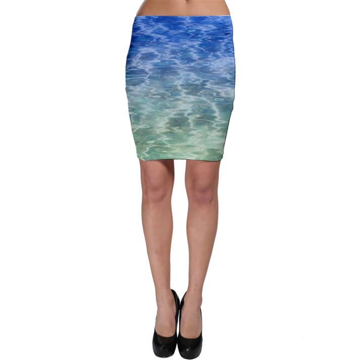 Water Blue Transparent Crystal Bodycon Skirt