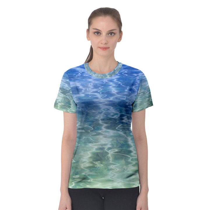 Water Blue Transparent Crystal Women s Sport Mesh Tee