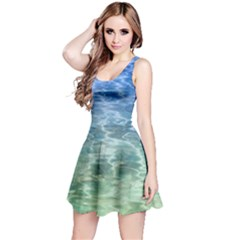 Water Blue Transparent Crystal Reversible Sleeveless Dress by HermanTelo