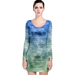 Water Blue Transparent Crystal Long Sleeve Bodycon Dress by HermanTelo