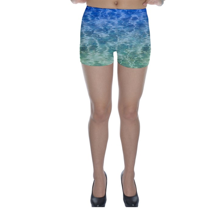 Water Blue Transparent Crystal Skinny Shorts