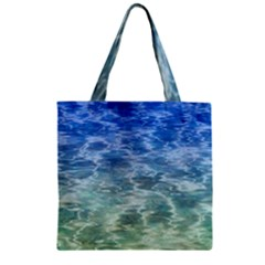 Water Blue Transparent Crystal Zipper Grocery Tote Bag