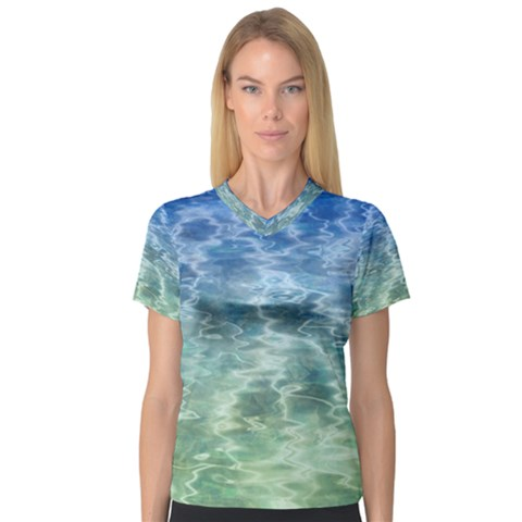 Water Blue Transparent Crystal V-neck Sport Mesh Tee by HermanTelo