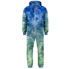 Water Blue Transparent Crystal Hooded Jumpsuit (men)
