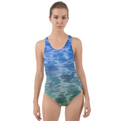 Water Blue Transparent Crystal Cut Out Back One Piece Swimsuit