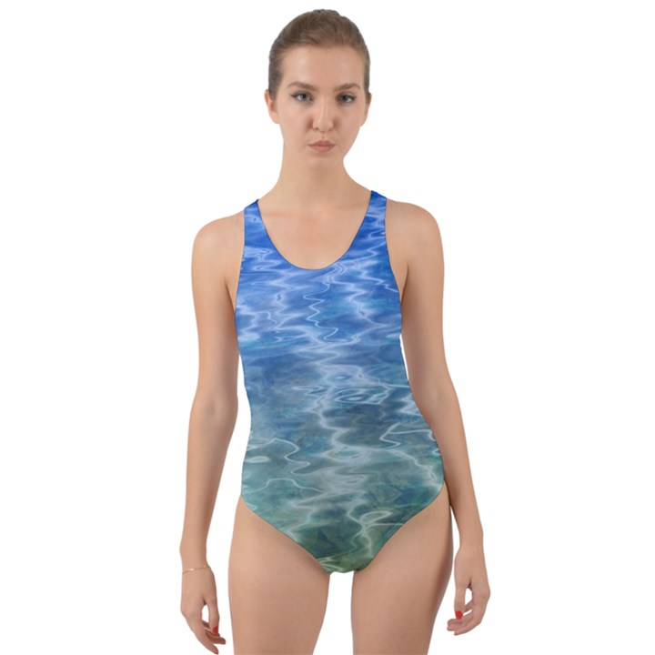 Water Blue Transparent Crystal Cut-Out Back One Piece Swimsuit