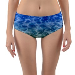 Water Blue Transparent Crystal Reversible Mid Waist Bikini Bottoms by HermanTelo