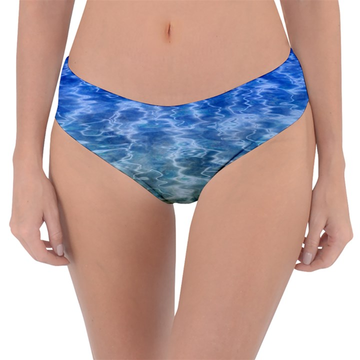 Water Blue Transparent Crystal Reversible Classic Bikini Bottoms