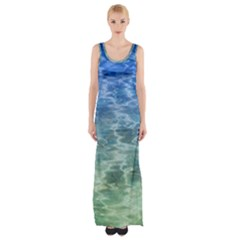 Water Blue Transparent Crystal Thigh Split Maxi Dress by HermanTelo