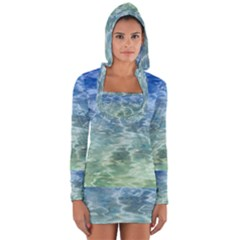 Water Blue Transparent Crystal Long Sleeve Hooded T-shirt by HermanTelo