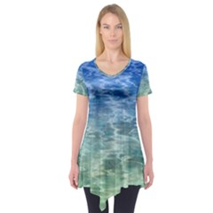 Water Blue Transparent Crystal Short Sleeve Tunic