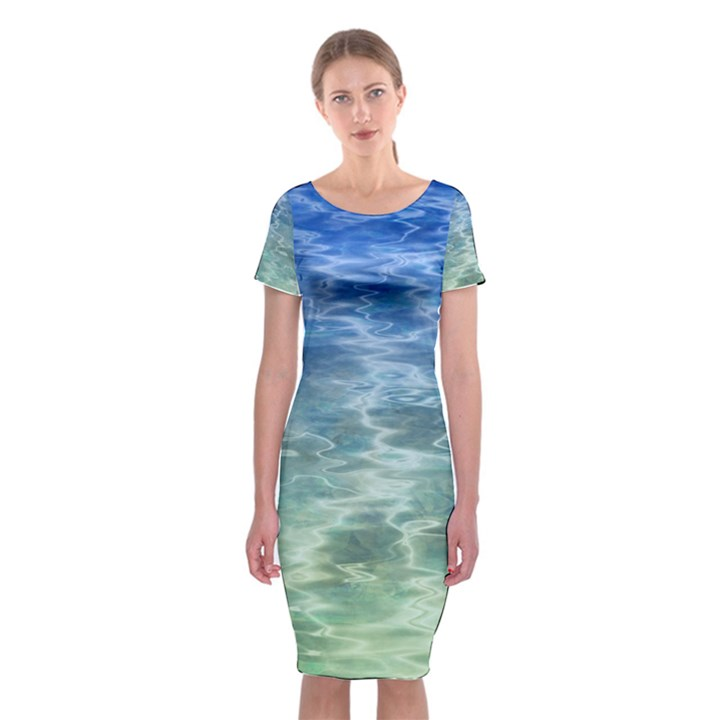 Water Blue Transparent Crystal Classic Short Sleeve Midi Dress