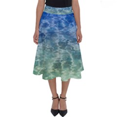 Water Blue Transparent Crystal Perfect Length Midi Skirt by HermanTelo