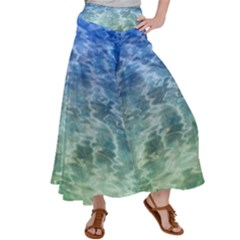 Water Blue Transparent Crystal Satin Palazzo Pants by HermanTelo