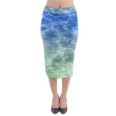 Water Blue Transparent Crystal Midi Pencil Skirt