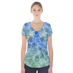 Water Blue Transparent Crystal Short Sleeve Front Detail Top