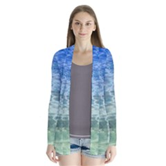 Water Blue Transparent Crystal Drape Collar Cardigan by HermanTelo