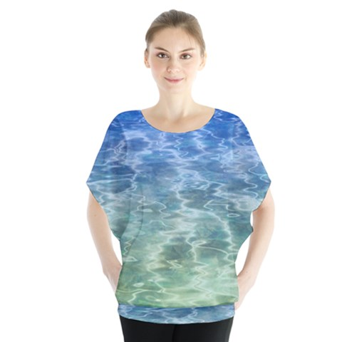 Water Blue Transparent Crystal Batwing Chiffon Blouse by HermanTelo