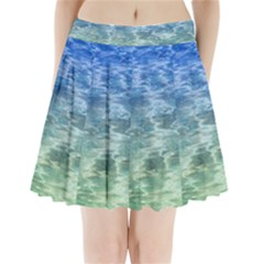 Water Blue Transparent Crystal Pleated Mini Skirt by HermanTelo