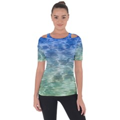 Water Blue Transparent Crystal Shoulder Cut Out Short Sleeve Top