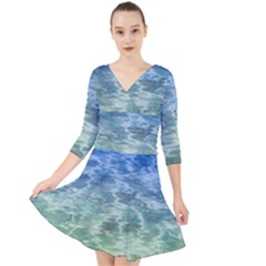 Water Blue Transparent Crystal Quarter Sleeve Front Wrap Dress by HermanTelo