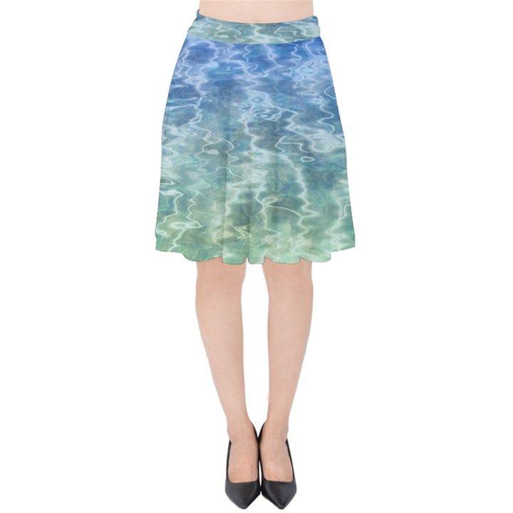 Water Blue Transparent Crystal Velvet High Waist Skirt