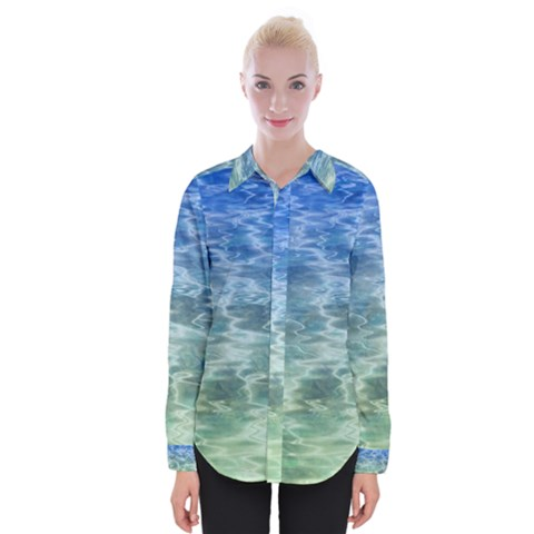 Water Blue Transparent Crystal Womens Long Sleeve Shirt by HermanTelo