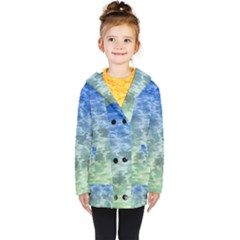 Water Blue Transparent Crystal Kids  Double Breasted Button Coat by HermanTelo