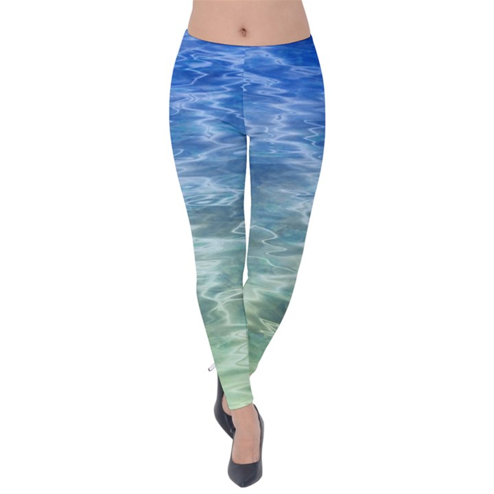 Water Blue Transparent Crystal Velvet Leggings