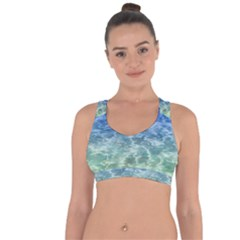 Water Blue Transparent Crystal Cross String Back Sports Bra
