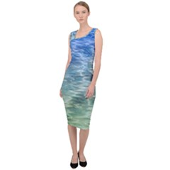 Water Blue Transparent Crystal Sleeveless Pencil Dress