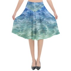 Water Blue Transparent Crystal Flared Midi Skirt
