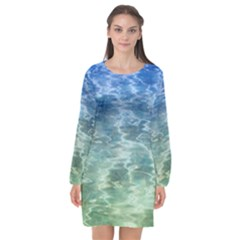 Water Blue Transparent Crystal Long Sleeve Chiffon Shift Dress  by HermanTelo