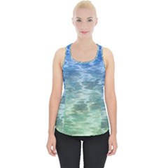 Water Blue Transparent Crystal Piece Up Tank Top