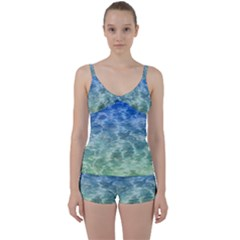 Water Blue Transparent Crystal Tie Front Two Piece Tankini by HermanTelo