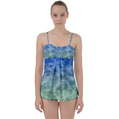 Water Blue Transparent Crystal Babydoll Tankini Set by HermanTelo