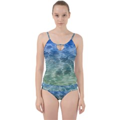 Water Blue Transparent Crystal Cut Out Top Tankini Set by HermanTelo
