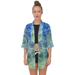 Water Blue Transparent Crystal Open Front Chiffon Kimono by HermanTelo