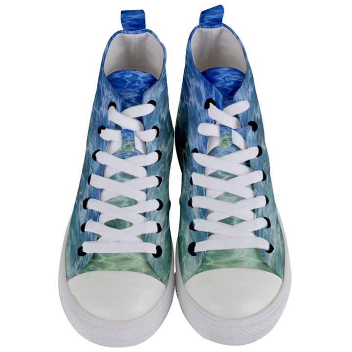 Water Blue Transparent Crystal Women s Mid-Top Canvas Sneakers
