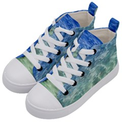 Water Blue Transparent Crystal Kids  Mid-top Canvas Sneakers by HermanTelo